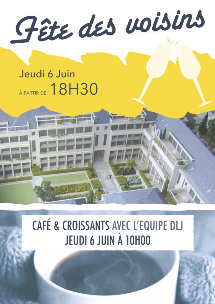 Fêtes de voisins, jeudi 6 juin 2019 à partir de 18h30.  Café et croissantes avec l'équipe DLJ à 10h00